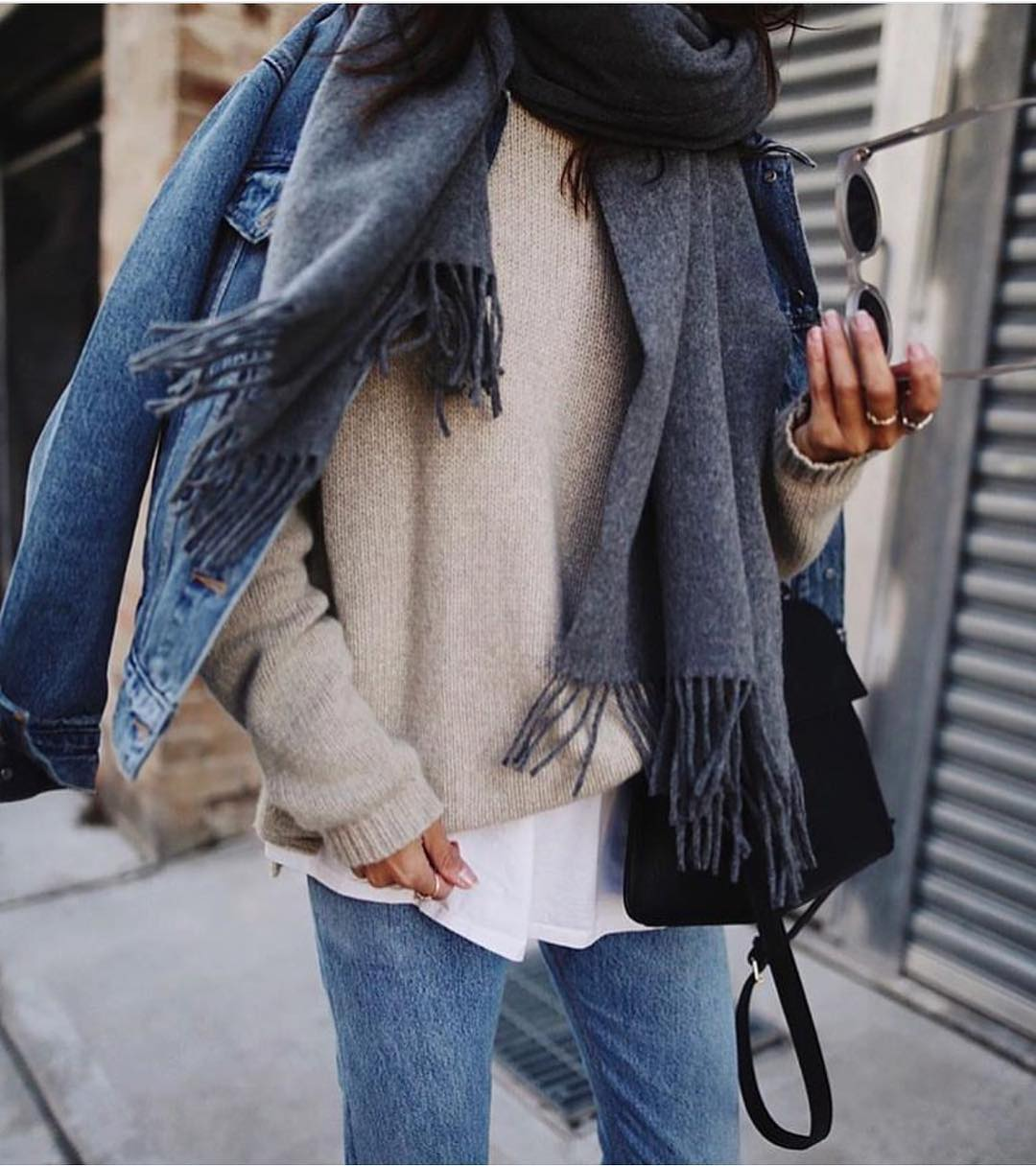 Layered OOTD For Fall: Denim Jacket, Sweater And Scarf 2019