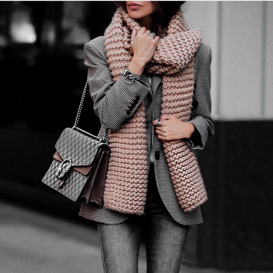 Chunky Blush Scarf And Micro Plaid Blazer For Fall 2019