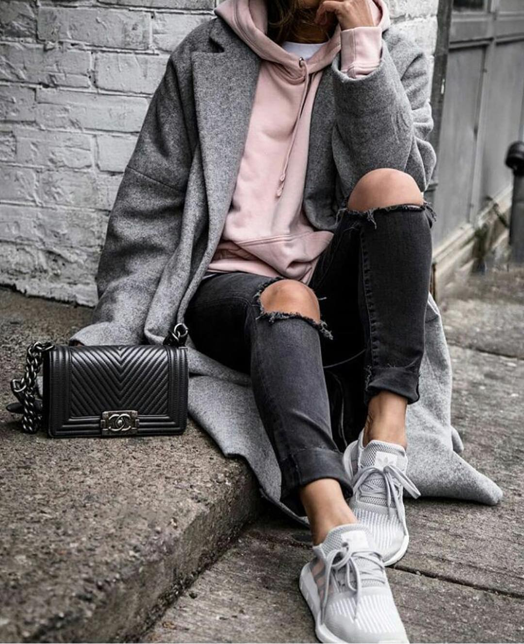 Oversized Grey Wool Coat And Blush Hoodie For Fall 2019