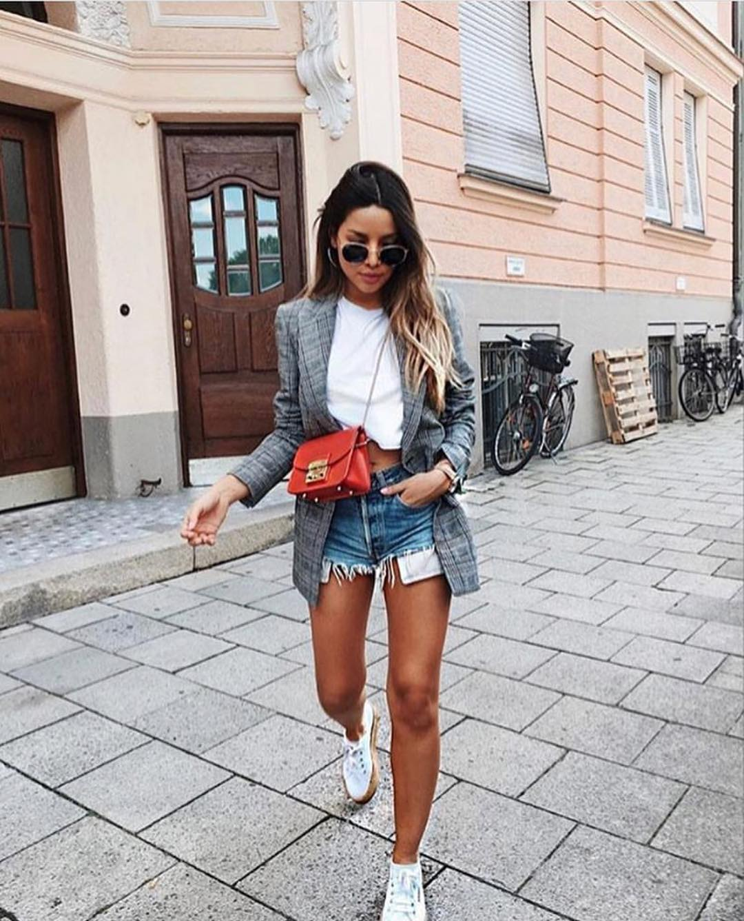 Grey Plaid Blazer With White Crop Top And Blue Denim Shorts For Spring 2021