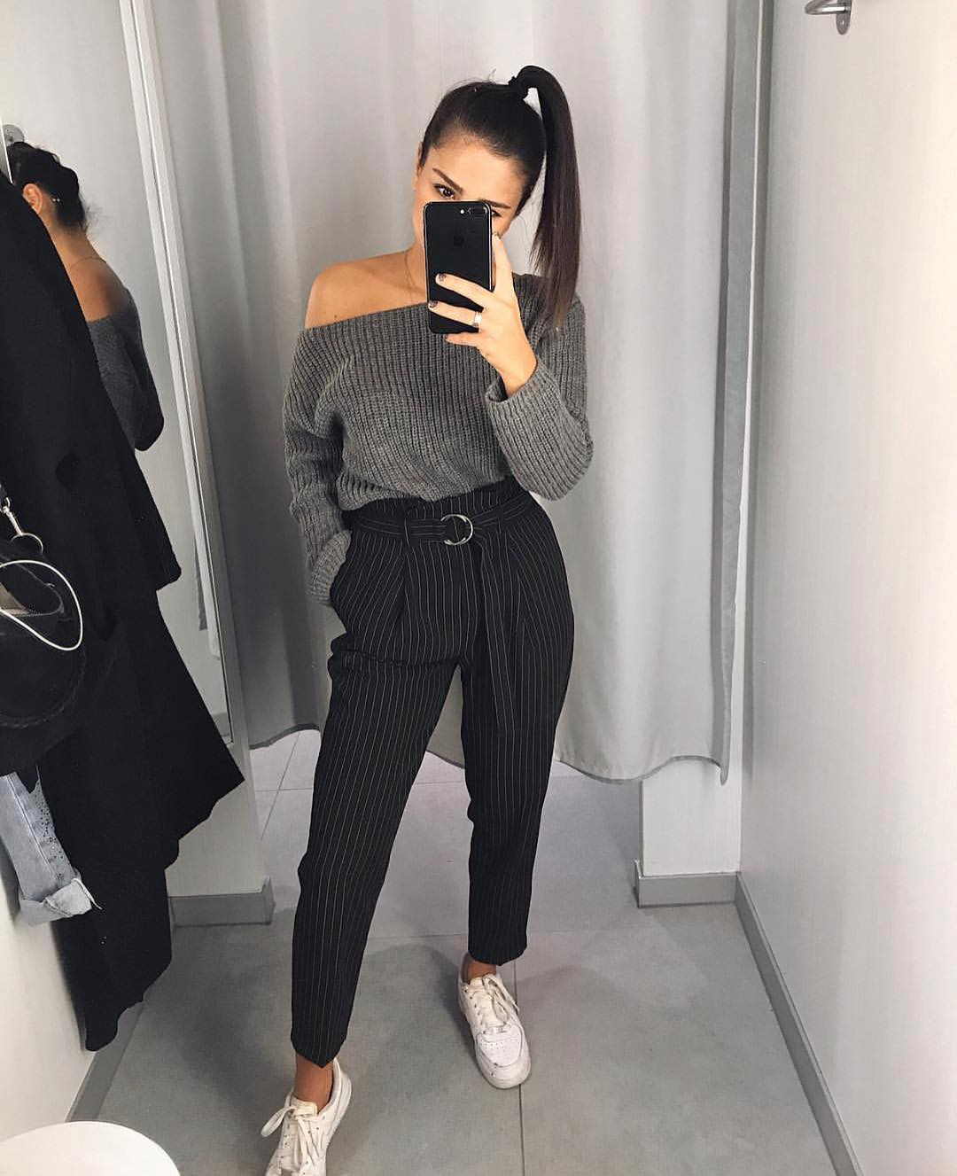 Grey One Shoulder Sweater And Pinstripe Black Pants For Fall 2020