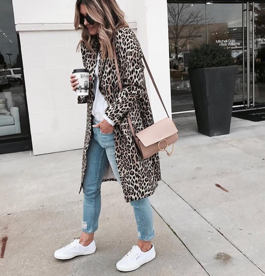 shades of official supplier cheap for discount How To Wear Leopard Print Coat With White Sneakers 2020 | Become Chic