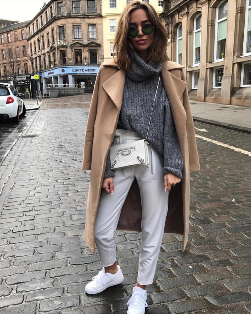 Camel Coat With Grey Sweater And White Pants For Fall 2020