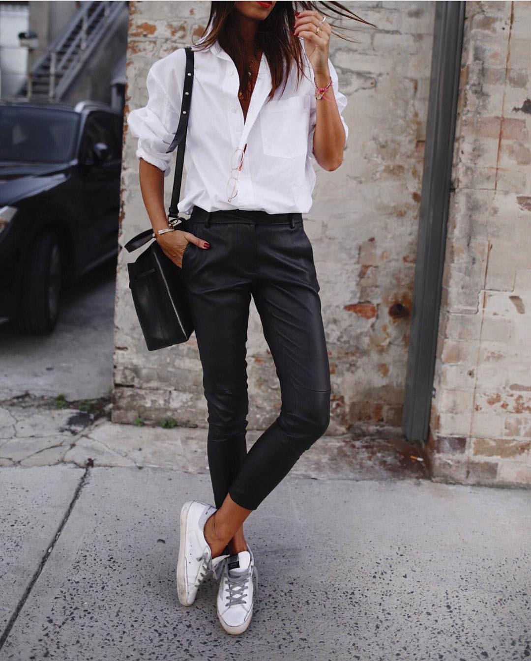 Spring Essentials: White Shirt And Black Leather Pants With White Kicks 2020