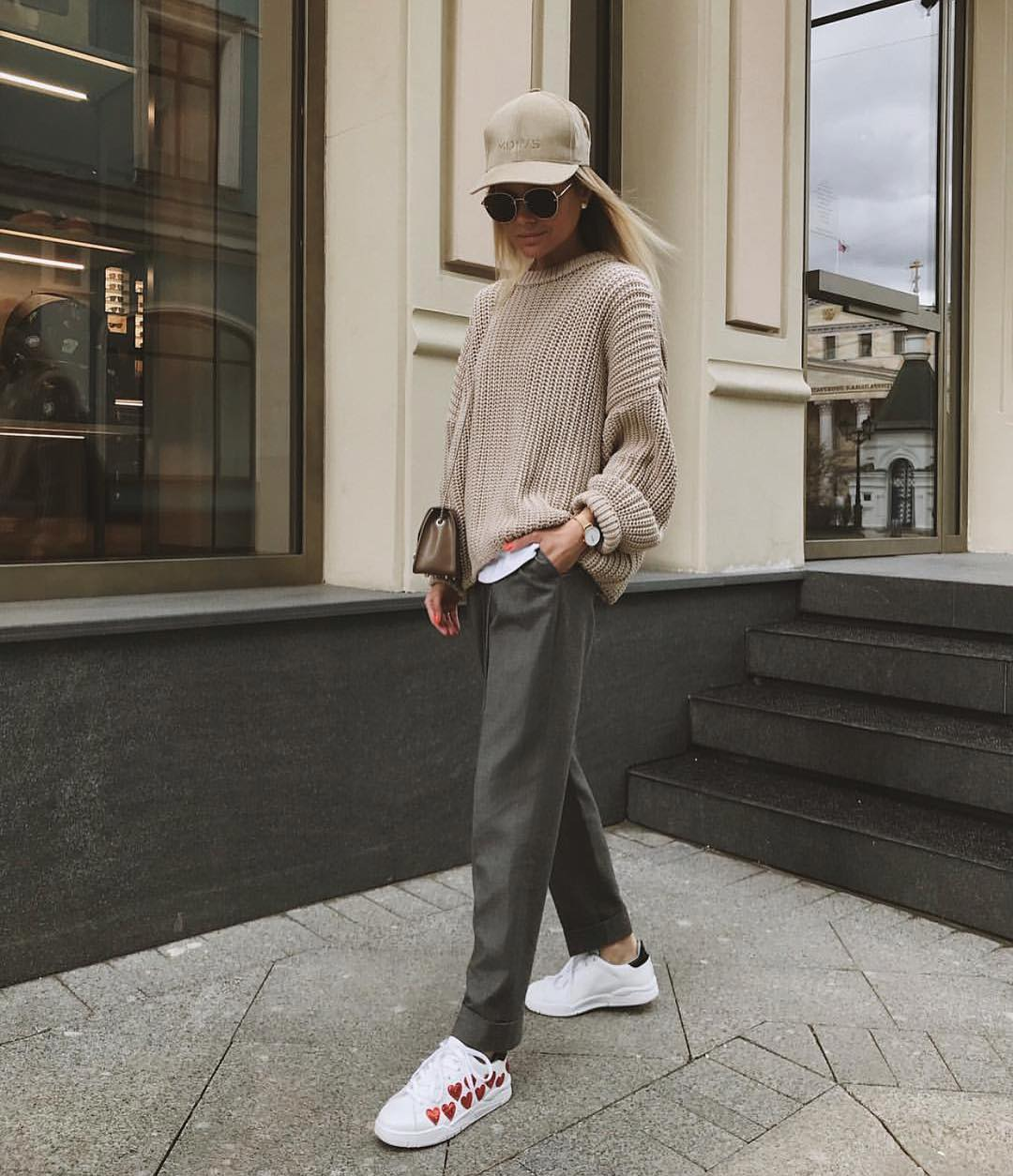 Athleisure Basics: Oversized Sweater With Loose Pants And White Sneakers For Fall 2021