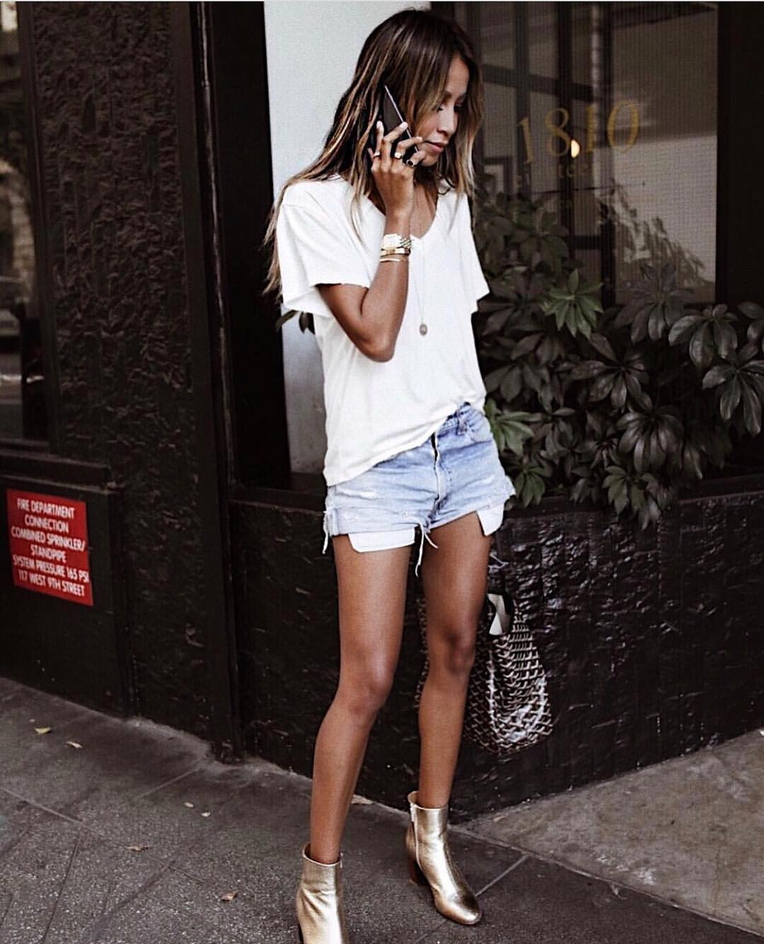 Oversized White Top With Denim Shorts And Gold Metallic Ankle Boots 2020