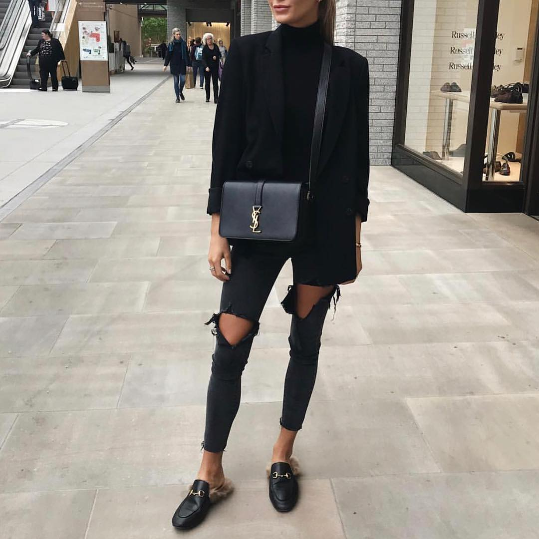 All Black OOTD For Fall: Black Blazer, Jeans And Loafers 2019
