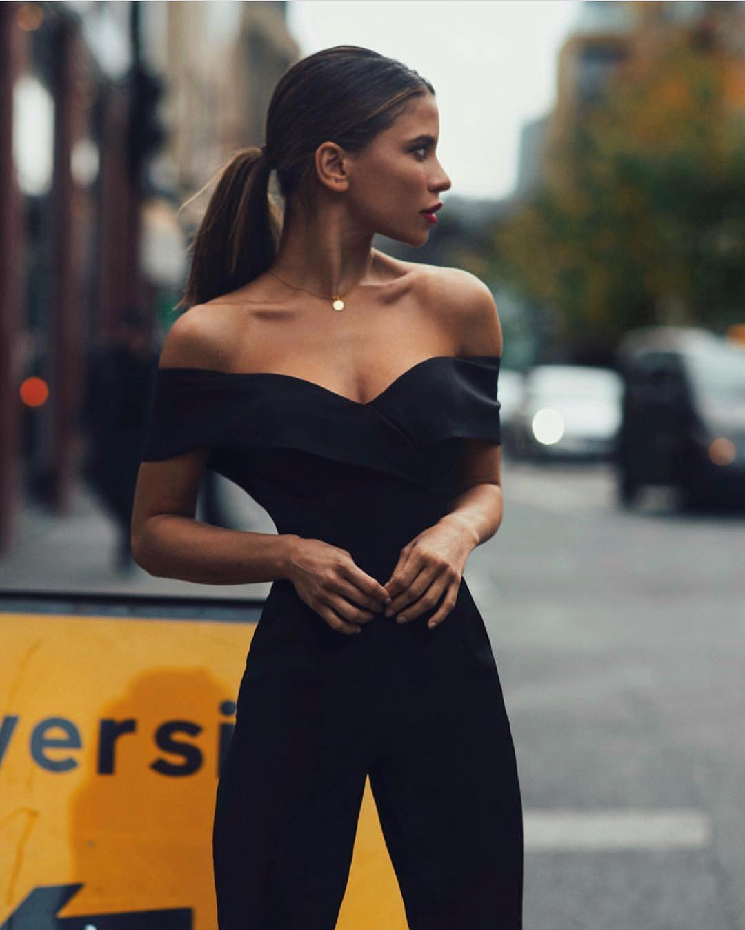 Off Shoulder Black Jumpsuit For Early Fall 2019