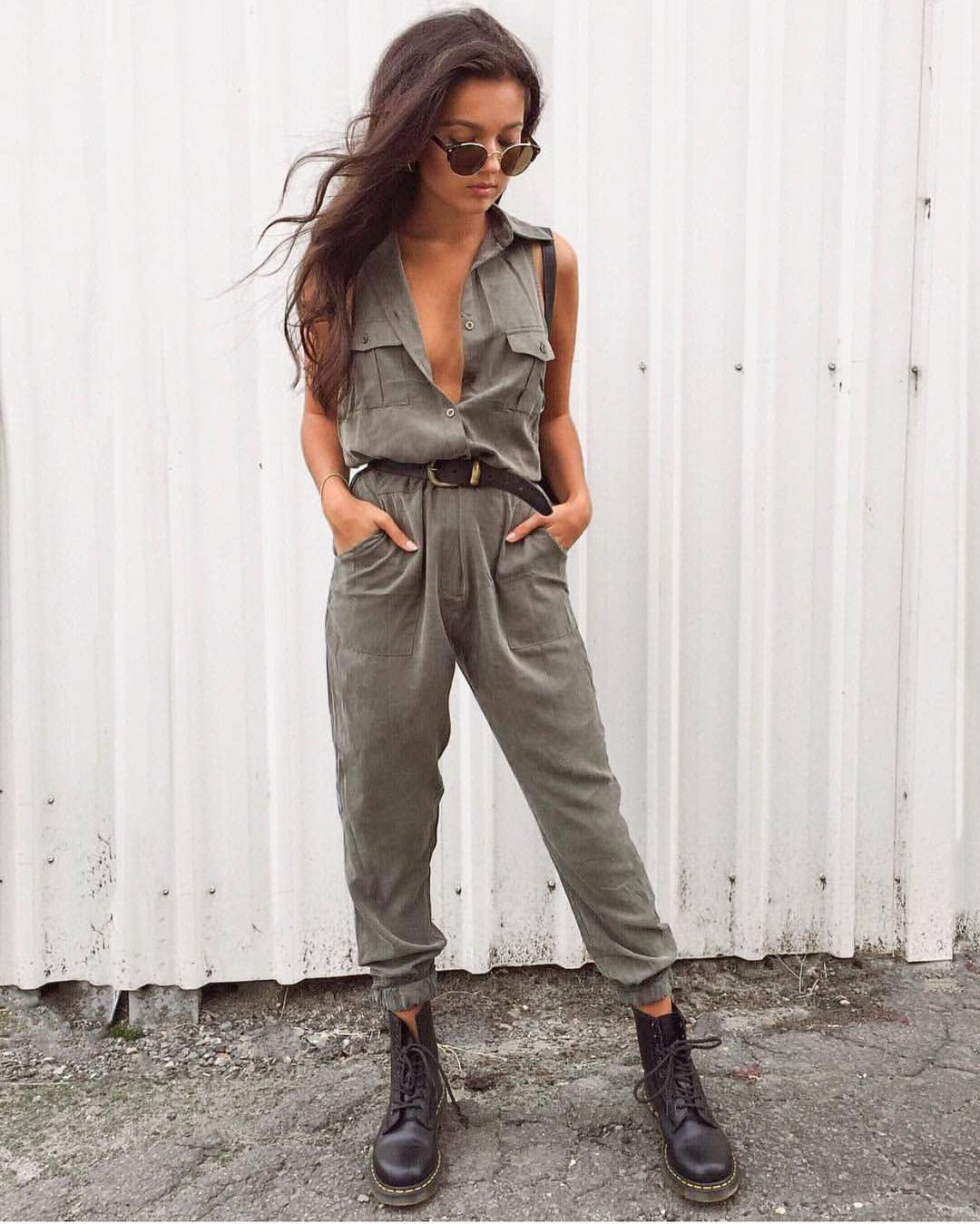 Cargo Jumpsuit In Khaki Green For Spring 2019