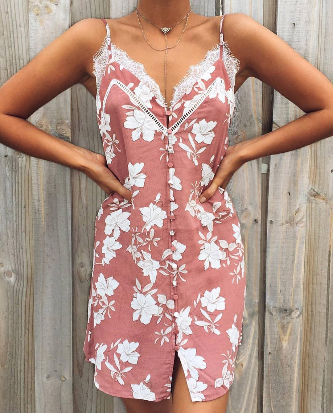Blush Dress In White Floral Print For Summer Chilly Days 2020