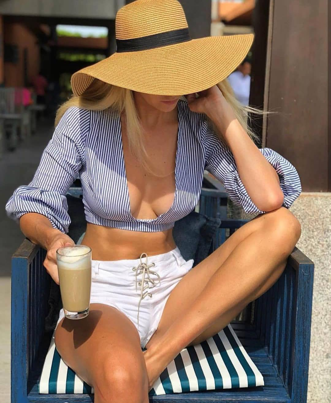Crop Blue-White Striped Top With Deep Neckline And White Shorts For Summer Vacation 2020