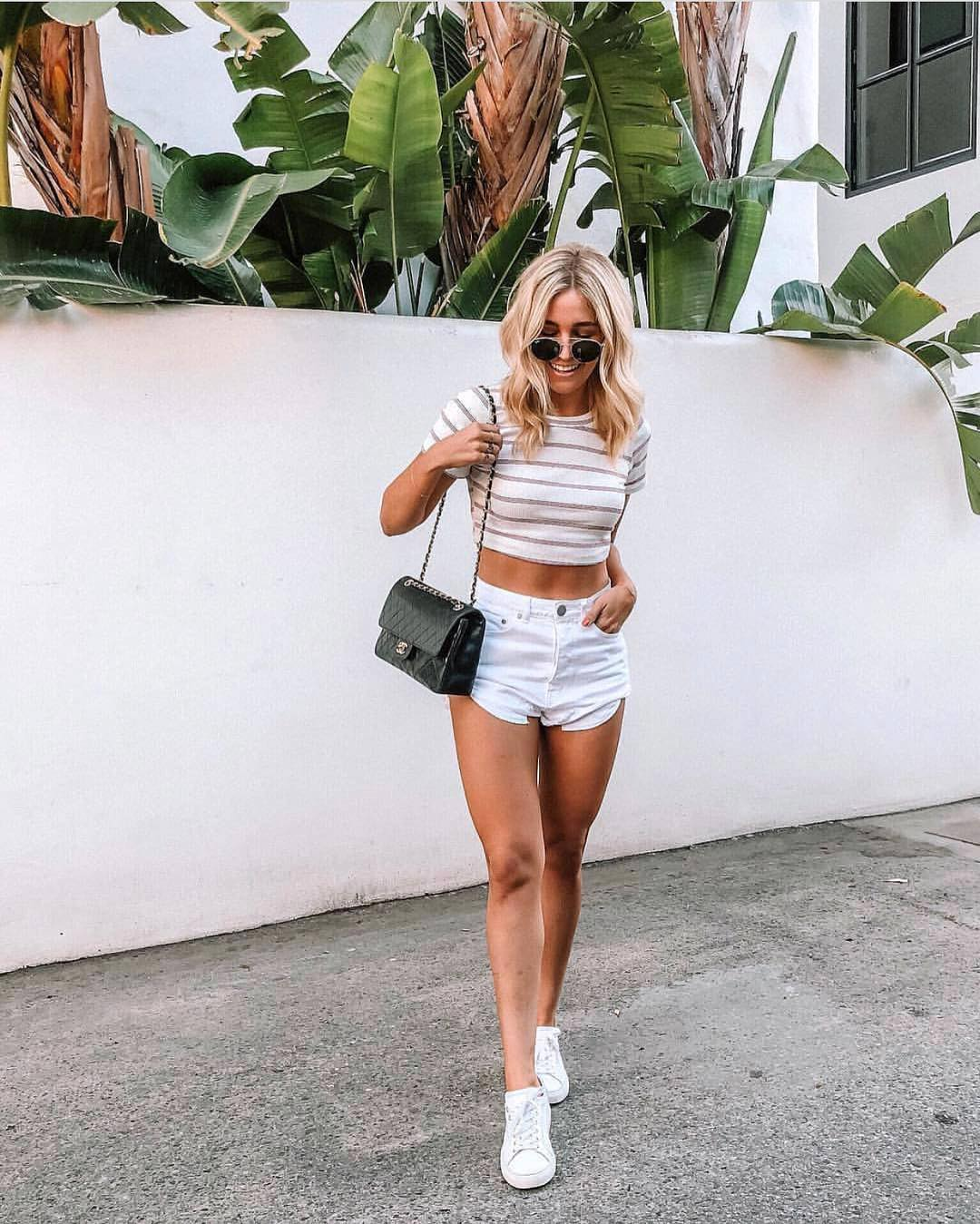 Summer Must-Haves: Striped Crop Top, White Shorts And White Kicks 2019