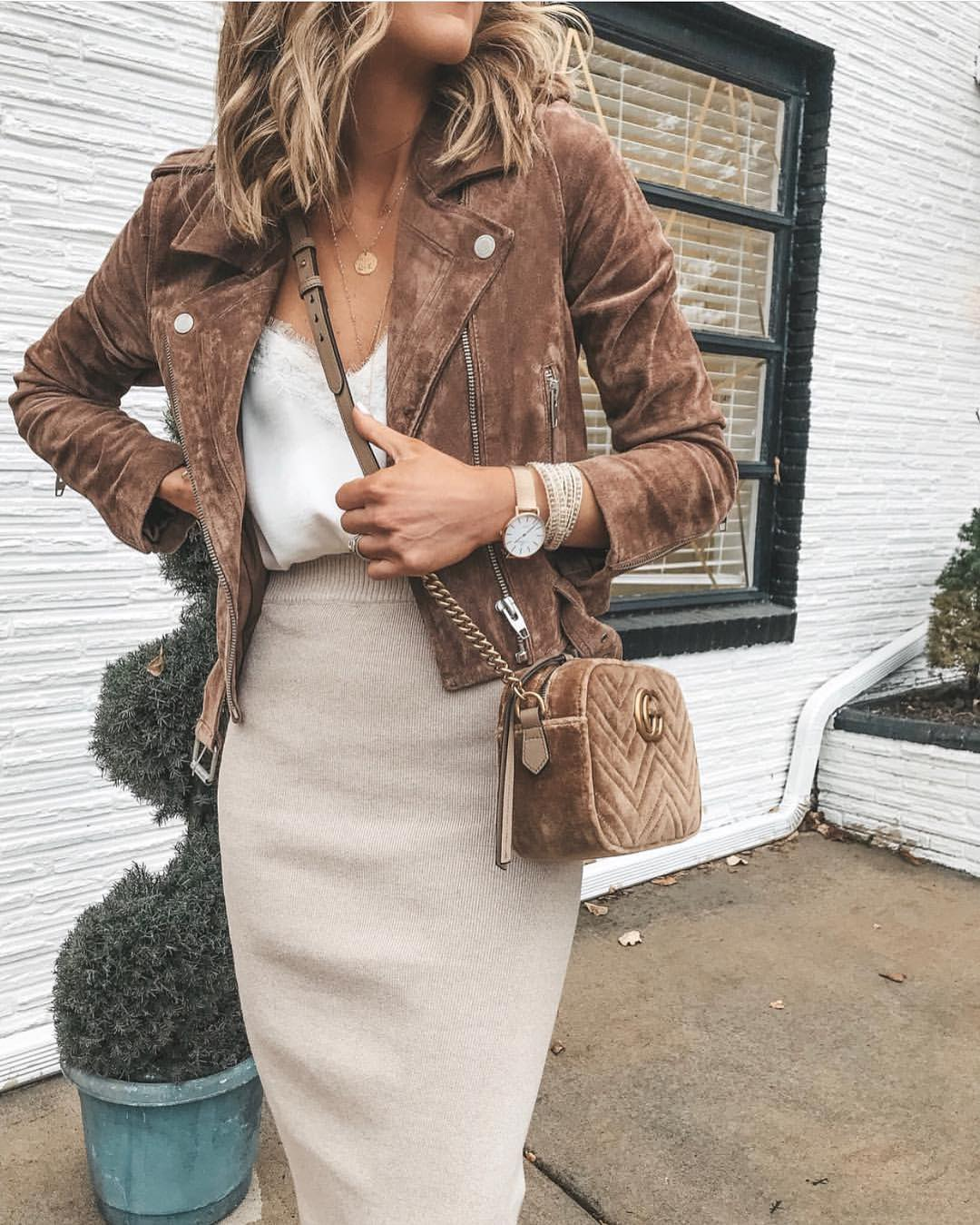 Brown Suede Biker Jacket And Knitted Cream-White Pencil Skirt Combo 2021