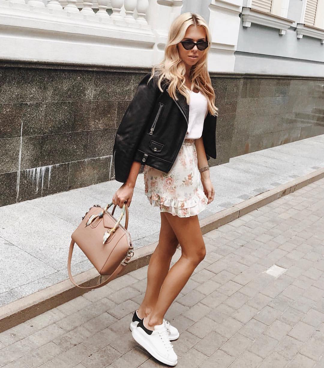 Can I Wear Black Leather Jacket With Floral Mini Skirt And White Kicks 2019